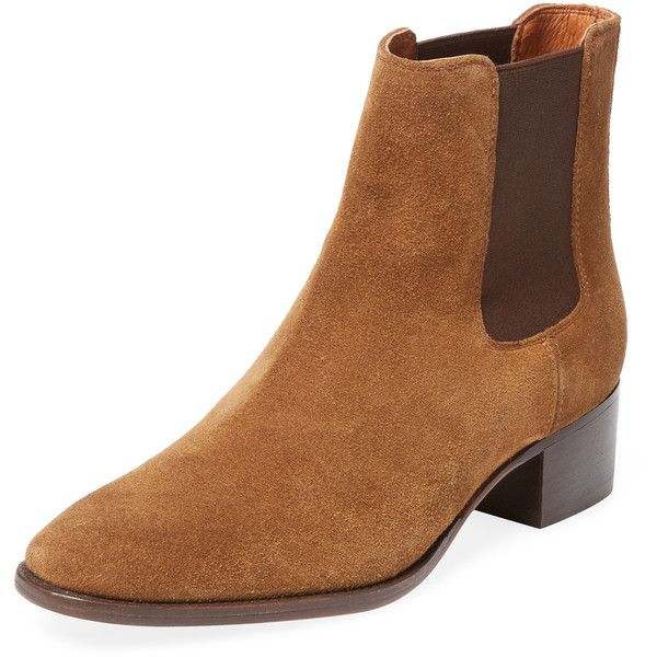 Frye Women's Dara Suede Chelsea Boot - Brown, Size 6.5 ($169) ❤ liked on Polyvore featuring shoes, boots, ankle booties, brown, suede chelsea boots, suede bootie, ankle boots, frye booties and brown suede boots
