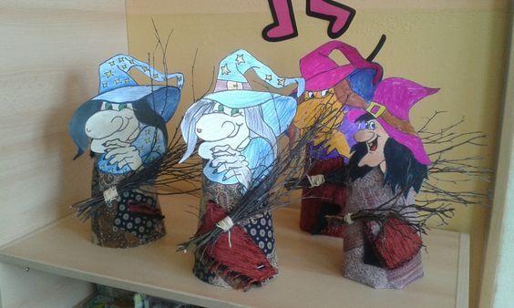 Čarodějnice - papír, látka, větvičky: