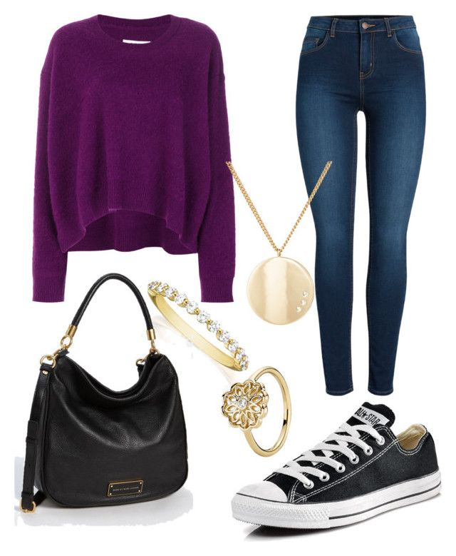 """""""Untitled #30"""" by devih on Polyvore featuring MM6 Maison Margiela, Pieces, Converse, Jules Smith, Henri Daussi, Pandora and Marc by Marc Jacobs"""