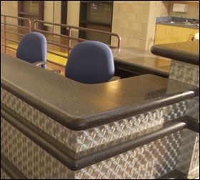 Reception Desk - Hi-Macs Solid Surface material is perfect for the work  environment.