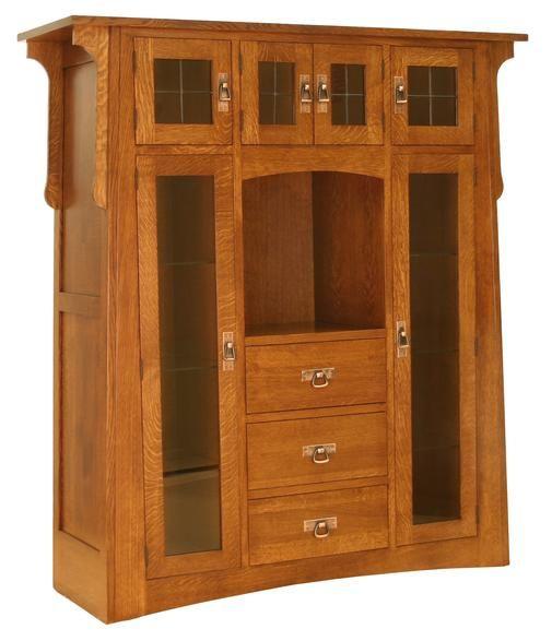 Santa cruz mission style quartersawn oak hutch amish for Amish kitchen cabinets illinois