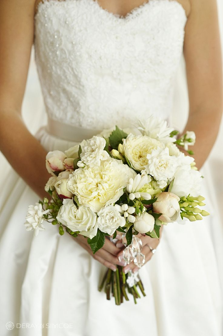 Mixed white bride's bouquet with crystal accent. Photography by DeRay & Simcoe Bouquet by Natural Art by Rebecca Grace