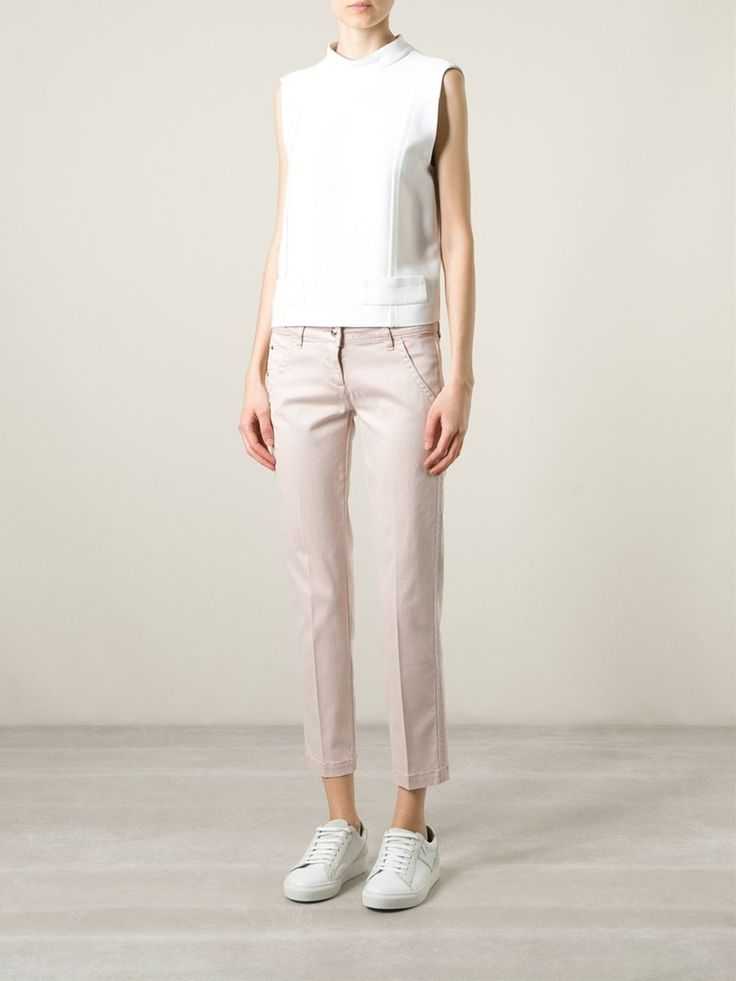 Pink cotton blend 'Summer' cropped trousers from Jacob Cohen