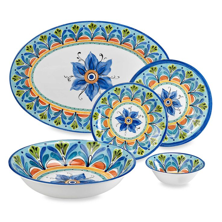 Azul Hand Painted Look Round Melamine Dinnerware Collection
