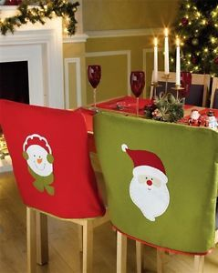 SET OF 4 SANTA SNOWMAN FESTIVE DINING SEAT CHAIR COVERS CHRISTMAS DECORATION | eBay