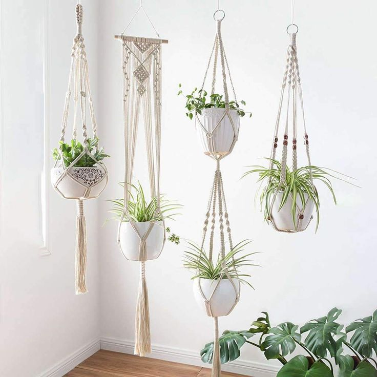 Macrame Plant Hangers – four Pack, In Totally different Designs