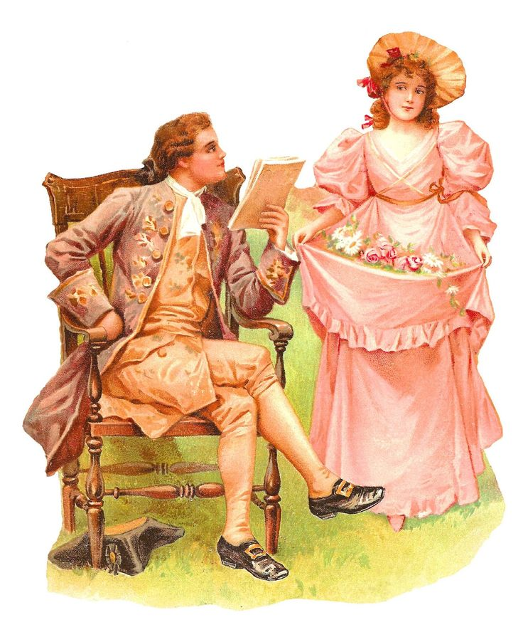Antique Images: Romantic Young Colonial Vintage Couple Clip Art: