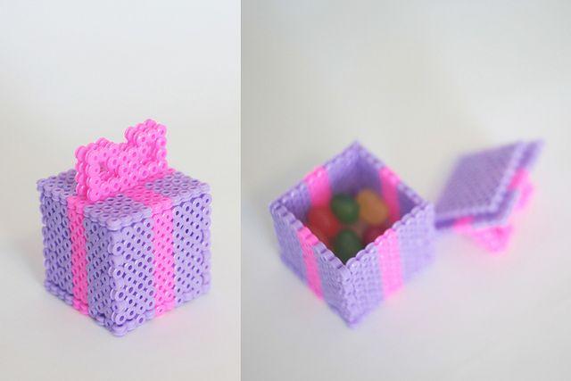 Gift box perler beads by Johanna Asseraf