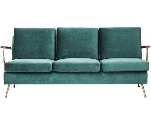 Sofa z aksamitu Gamble (3osobowa) Divano velluto
