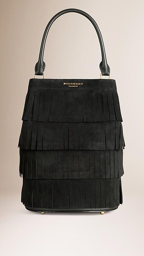 Black The Bucket Bag in Tiered Suede Fringing - Image 1