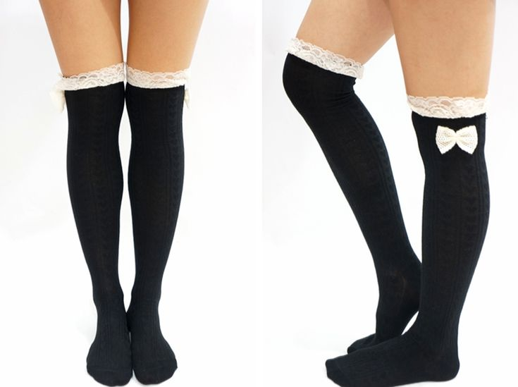 Lace Bow Side Knee High Lace Socks -