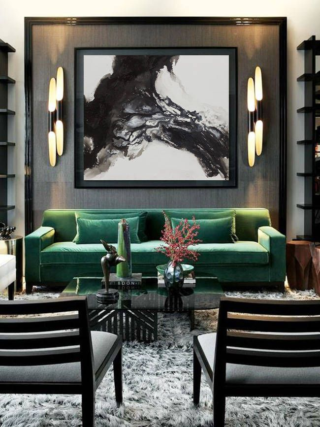Green sofa living room decor