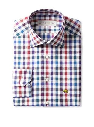 Etro Men's Spread Collar Checks with Paisley Long Sleeve Shirt