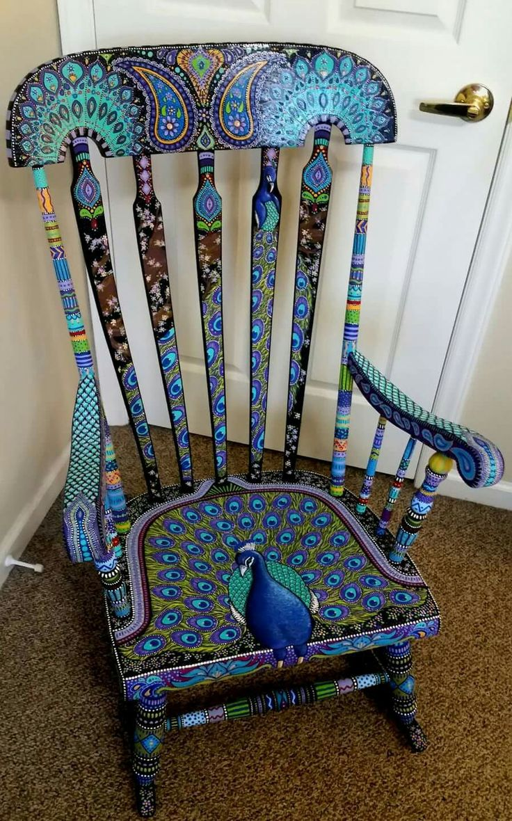 Painted kids rocking chair - I Would Put This In A Nursery Hand Painted Chairswooden Rocking
