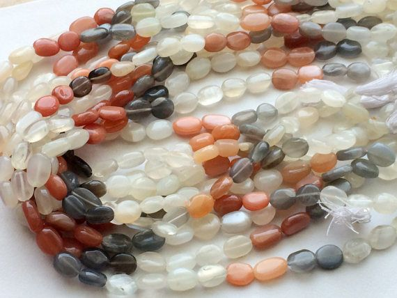 Multi Moonstone Plain Oval Beads Natural by gemsforjewels on Etsy