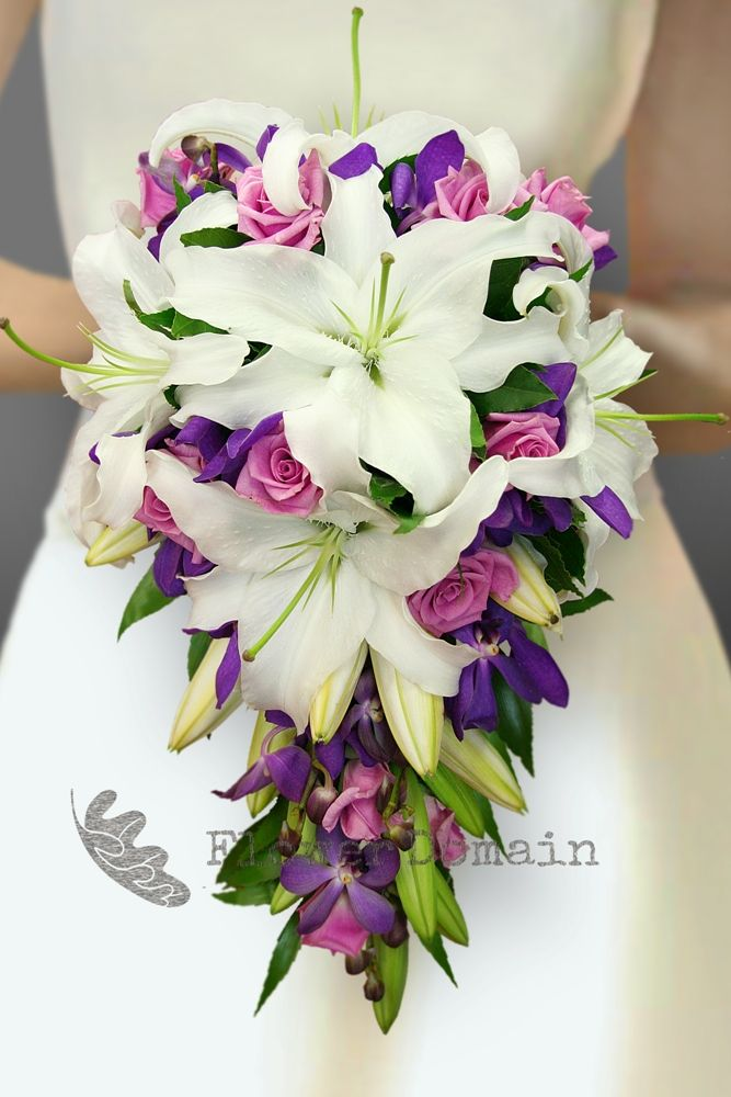 Wedding Flowers Lilies : White oriental lily purple orchid and mauve rose trailing