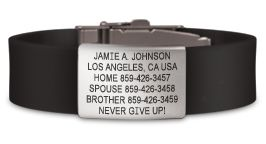 The Wrist ID Elite has a sexy silicone band and watch-style buckle and your life may depend on it. This sleek ID has you covered on the bike, during the run and in the boardroom. Custom laser engraved.