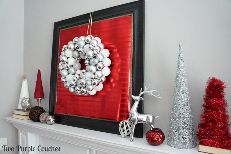 Beautiful Christmas Mantel from Two Purple Couches