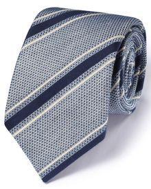 Blue & white silk mix Italian luxury stripe grenadine tie