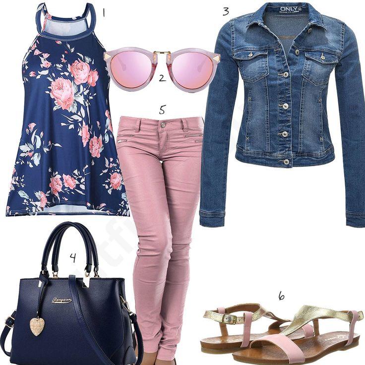 Schickes Damen-Outfit in Rosa und Blau (w0357