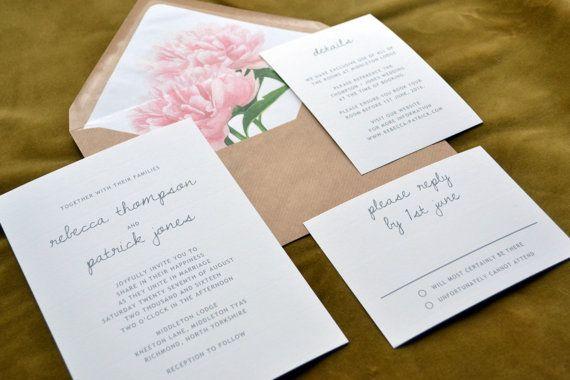 Faire-part de mariage - personnalisée minime Suite   Vintage Floral Liner…