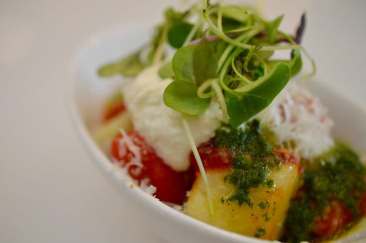 Handmade Gnocchi with San Marzano tomato sauce, homemade ricotta cheese, micro basil, basil oil and parmigiano. From our menu at the Toronto Catering Showcase.