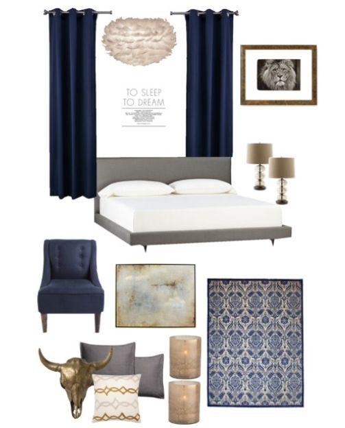 Soverom inspo, grått og blått er flott! :-)