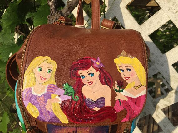 Disney Painted Backpack: Custom Backpack by theartoftraveling