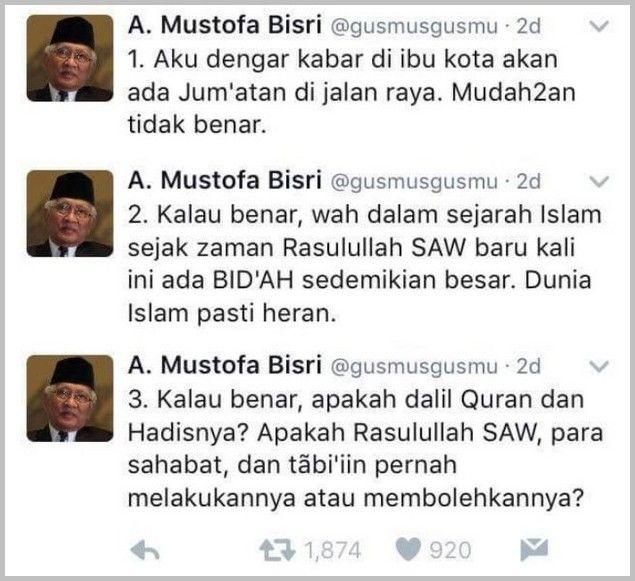 "11 METODE JAWABAN UNTUK TWIT GUS MUS  [Senjata Makan Tuan] Pak Yai berkata di twitter: ""Kalau benar wah dalam sejarah Islam sejak zaman Rasulullah baru ada BID'AH sedemikian besar. Dunia Islam pasti heran."" Saya dapat copasan 11 metode untuk merespon twit beliau:  1. Metode Fallacy Definisi: ""Kalo gitu jangan dakwah lewat Twitter. Twitter juga gak ada di masa Rasul."" 2. Metode Ilmuwan: ""Amerika udah ke bulan orang islam masih debat masalah jumatan di jalan."" 3. Metode Cak Nun: ""Anggaplah yg…"