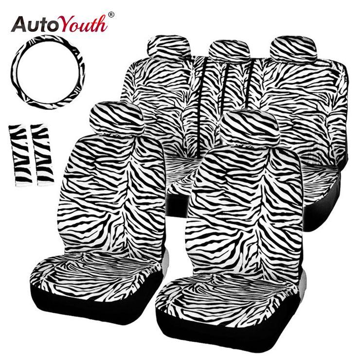 AUTOYOUTH Krótki Pluszowe Luksusowe Zebra Pokrowce Uniwersalne Pasują Do Większości Foteliki Samochodowe Kierownicy Osłony Koła Naramiennik Biały Seat Cover