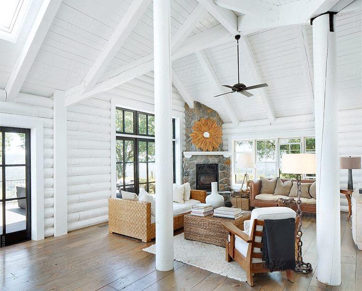 Living Room In Modern Design Log Cabin | Stocksy U…