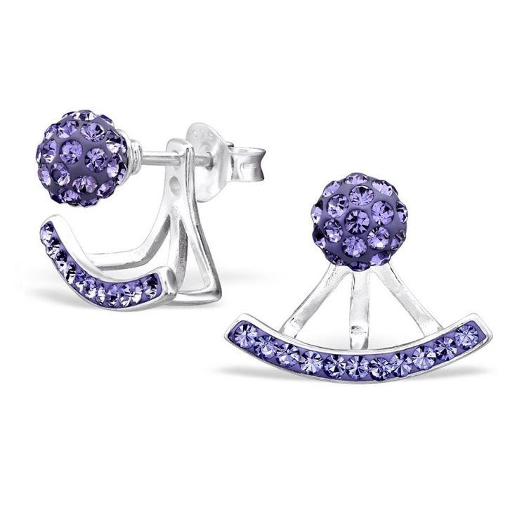 Dot dubbele Zilveren Oorbellen met paars Kristal