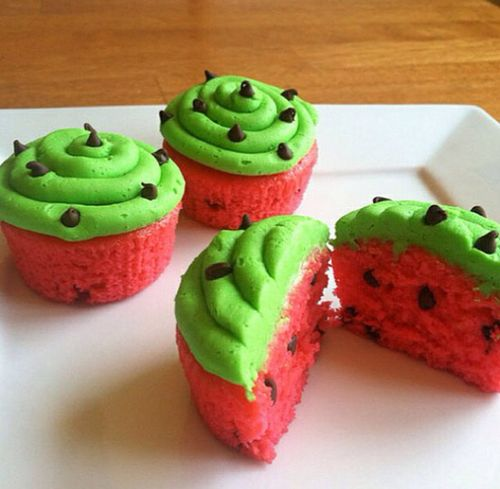 Watermelon Cupcakes! I made these before got the stuff at target!!!!