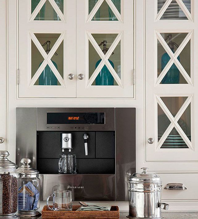 Kitchen. White, beachy/coastal style, and open. Great cabinetry. Coffee station. Great details.