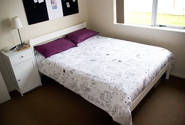 HAND DRAWN MONSTER DUVET COVER. This mother compiled her son's monster artwork. Scanned it, enlarged it, and then traced it onto a duvet cover using a permanent fabric marker