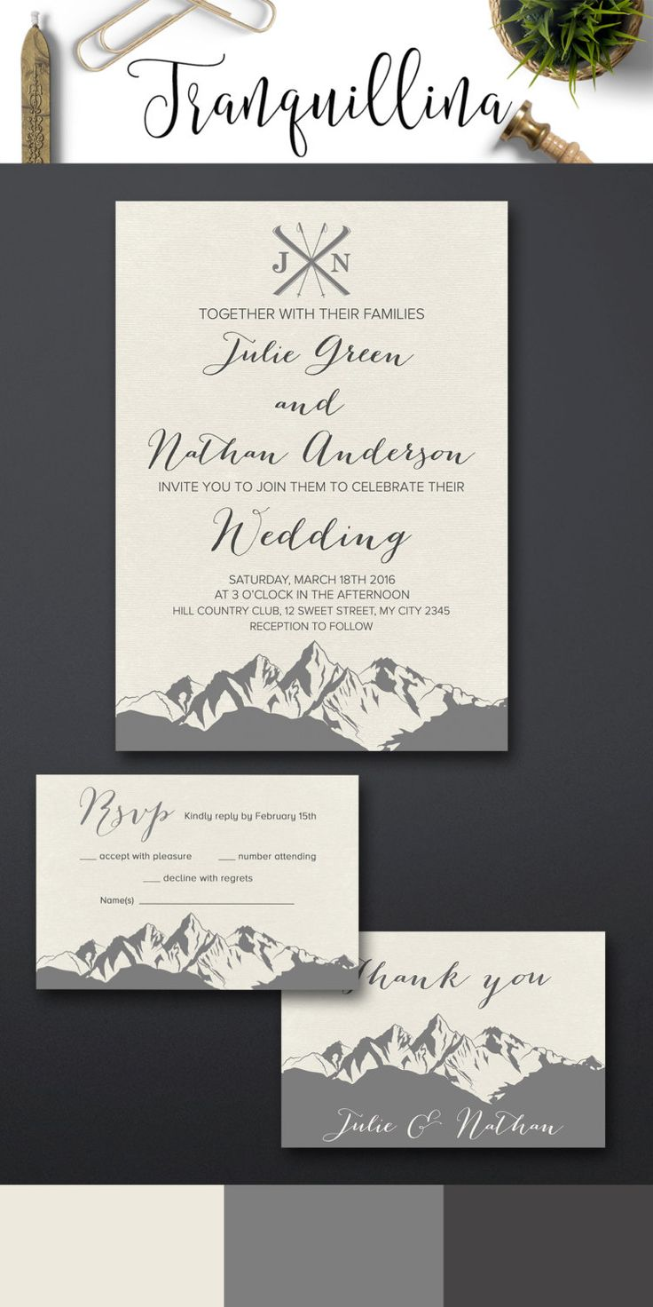 mountain wedding invitations plantable wedding invitations Mountain Wedding Invitation Printable Winter Wedding Invitation Modern Christmas Wedding Invitation Printable Wedding Invitation Suite