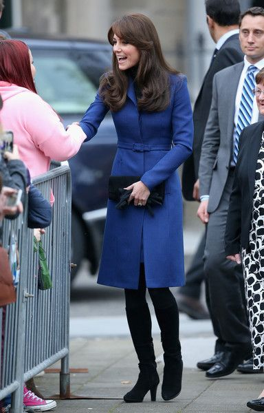 Duchess of Cambridge in Christopher Kane coat and Aquatalia boots, Muse clutch and gloves, sapphire and diamond earrings in Dundee: