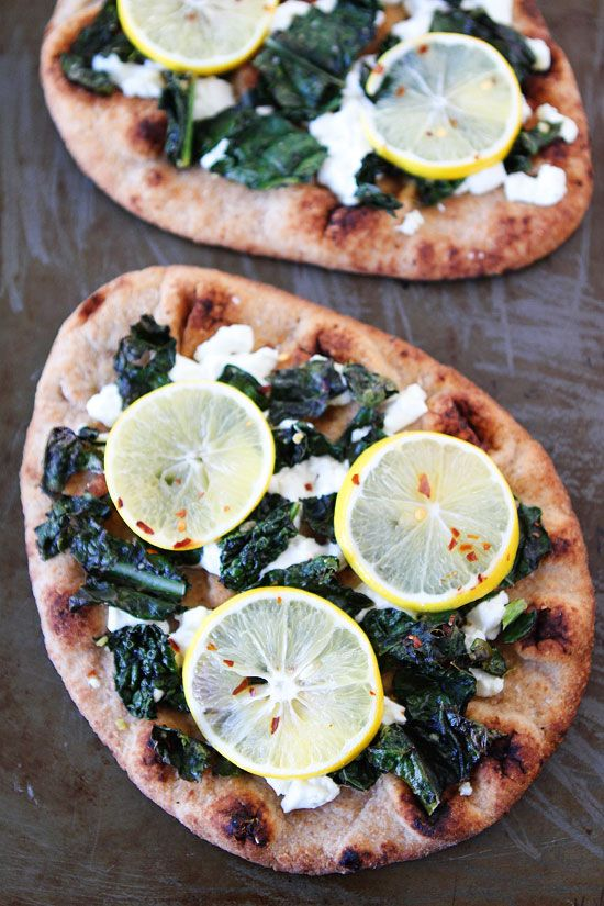 Meyer Lemon, Kale, and Goat Cheese Flatbread Recipe on twopeasandtheirpod.com Love this easy flatbread recipe!
