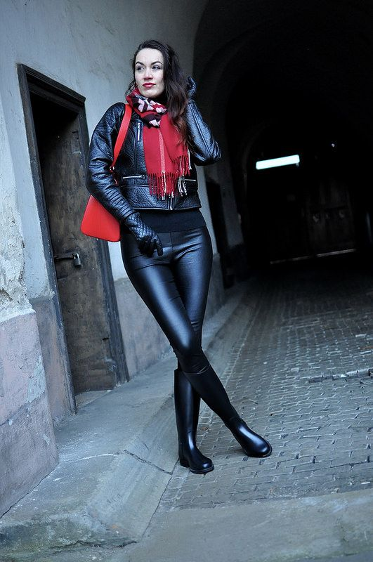 Leather leggings rubber riding boots leather jacket