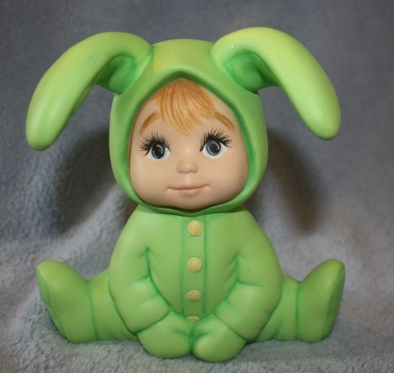 Adorable! Handpainted ceramic baby in green bunny suit $16.95 by FlutterbyConnections on Etsy
