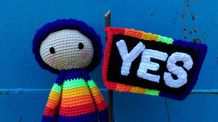 YES! Rainbow Doll - Face... supporting marriage equality in Australia.   Project information and pattern link here;   http://www.ravelry.com/projects/LindaDavie/lalylala-paul-the-toadstool-15