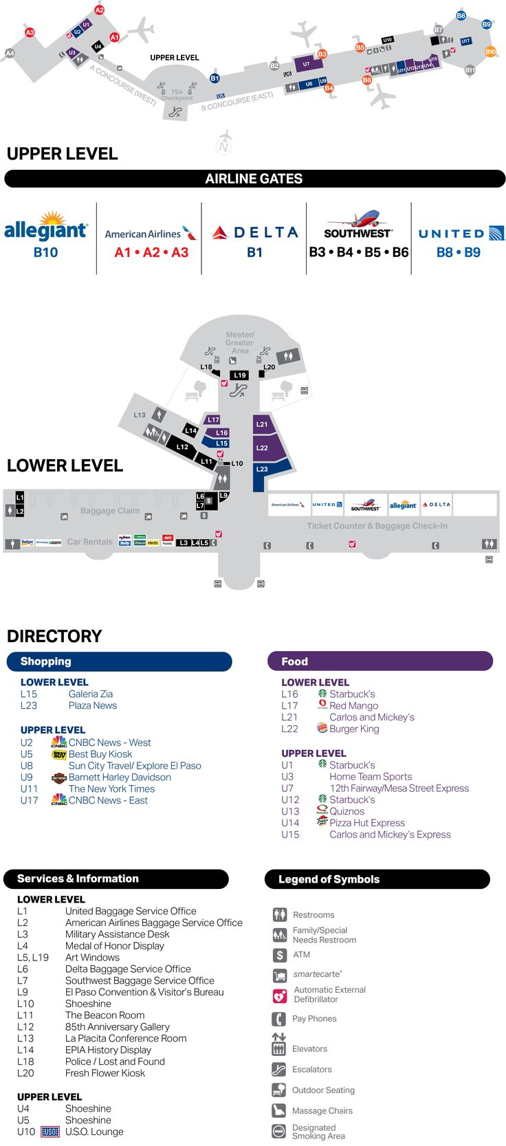 terminal directory map El Paso Airport in 2019 Travel