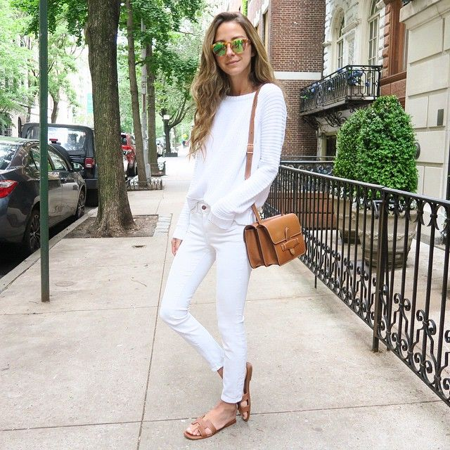 white sweater + skinny jeans + Hermes Oran camel flat sandals