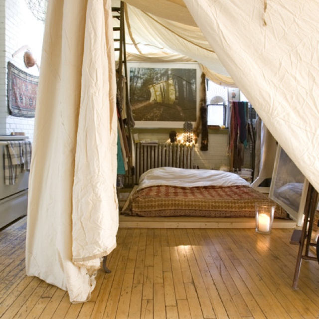 Love the idea of a tent bedroom inside a loft cozy for Small 2 room tent