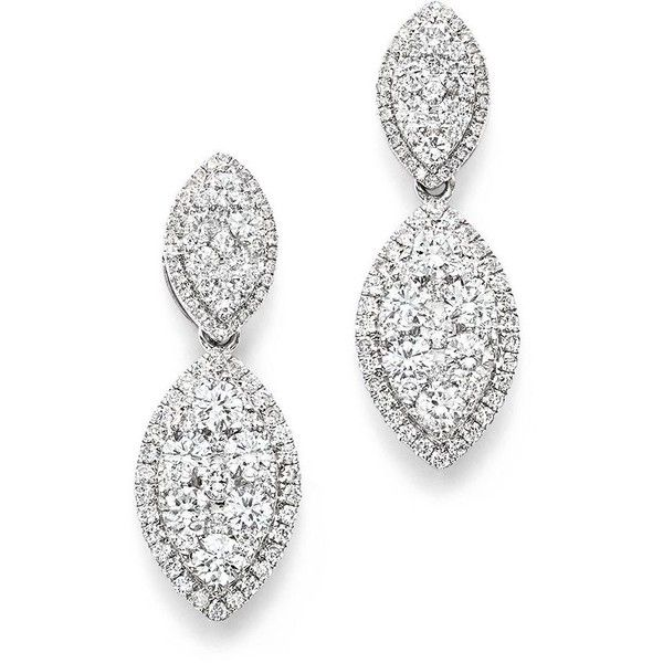 Bloomingdale's Diamond Double Marquise Earrings in 14K White Gold,... (€4.260) ❤ liked on Polyvore featuring jewelry, earrings, white, diamond earrings, pave diamond drop earrings, white gold diamond earrings, diamond jewelry and bloomingdales earrings