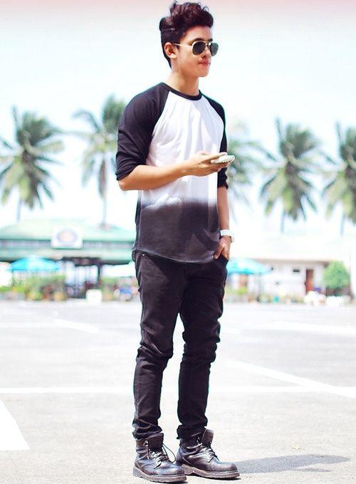 Men's Fashion | Black & White Wash Baseball T, Black Jeans, Sunglasses, Black Vintage Combat Boots. VANS SUMMER 2013