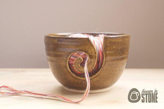 Yarn Bowl  Brown Speckled Wool Bowl  Wood Effect by ThrownInStone