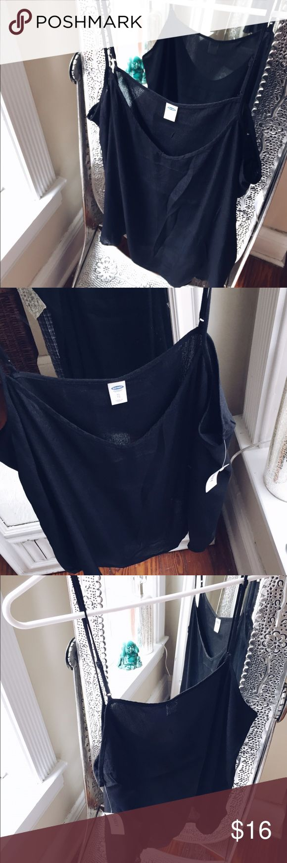 NWT 90s tank Beautiful black tank, linen like material 🍃 Tags: grunge, tee shirt dress, brandy Melville, urban outfitters, Zara, asos, gold, black, same day shipping, suggested user, elephant, hamsa, tapestry, spirituality, plunge neck, loose, oversized, flannel, boyfriend jeans Old Navy Tops Tank Tops