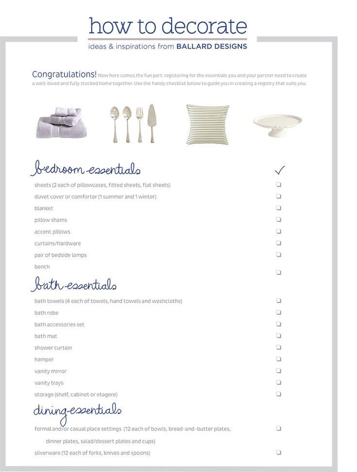 Ballard Designs Wedding Gift Registry Checklist Home