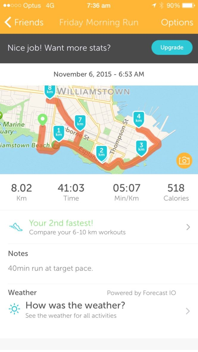 My 40 min run at target pace after doing a HIIT session.